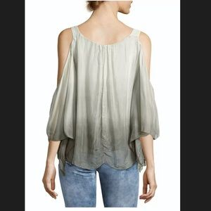 Le Marais 100% silk green ombré blouse